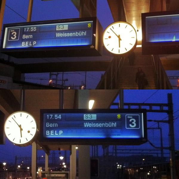 Unterschiedliche Zeitangaben für die Abfahrt des Zuges