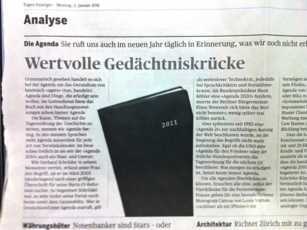 Zeitungsausriss Artikel Wertvolle Gedächtniskrücke mit Agenda 2011