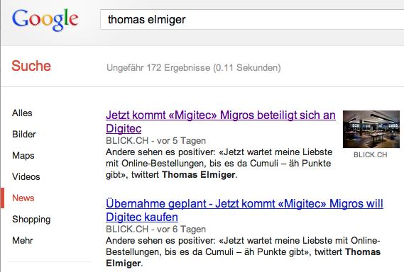 Google-News-Sucheresultate mit Blick-Zitaten.