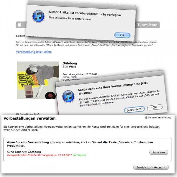 E-Mail, iTunes-Dialoge, Liste Vorreservationen