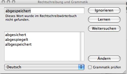 Korrekturvorschläge aus dem Mac-Wörterbuch