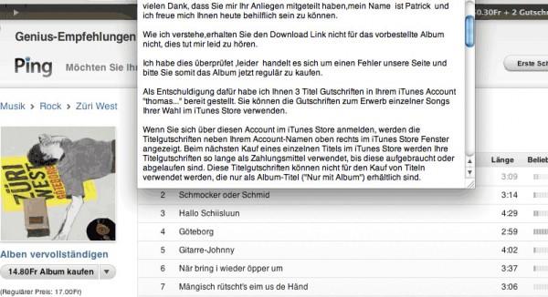 Überfreundliche E-Mail-Nachricht vom iTunes Customer Support