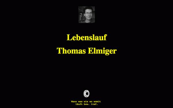 Startseite des HTML-Lebenslaufs von Thomas Elmiger aus dem Jahr 1997
